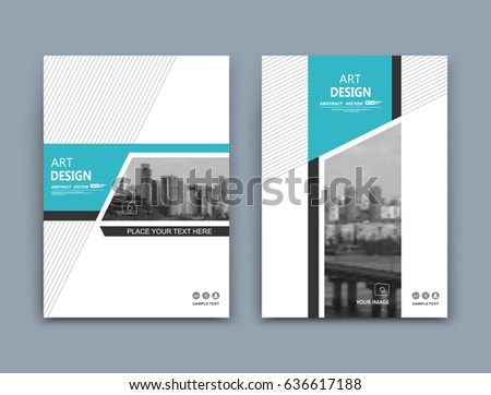 Abstract a4 brochure cover design. Template for banner, business card, title sheet model set, flyer, ad text font. Modern vector front page art with urban city river bridge. Lines, green figures icon