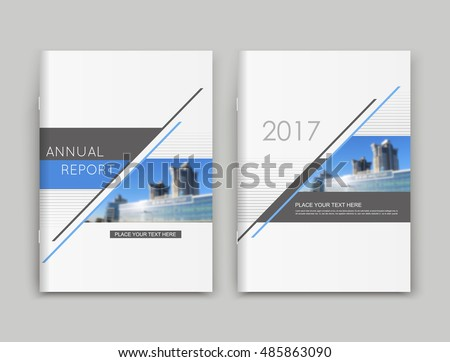 Abstract a4 brochure cover design. Text frame surface. Urban city sky view font. Title sheet model set. Creative vector front page. Brand logo banner texture. Blue triangle figure icon. Ad flyer fiber