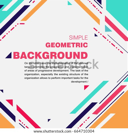 Abstract a simple geometric template for the presentation. Template for business and creativity and text.
