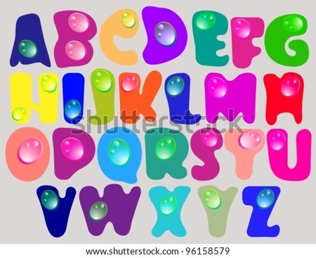 Abstract ABC,color alphabet with color drops, beautiful vector illustration