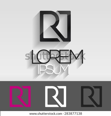Abstract ABC letter logo. Letter R in a square. Vector illustration. Photo stock ©