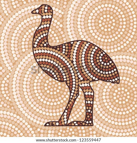 Abstract Aboriginal Emu dot painting in vector format.