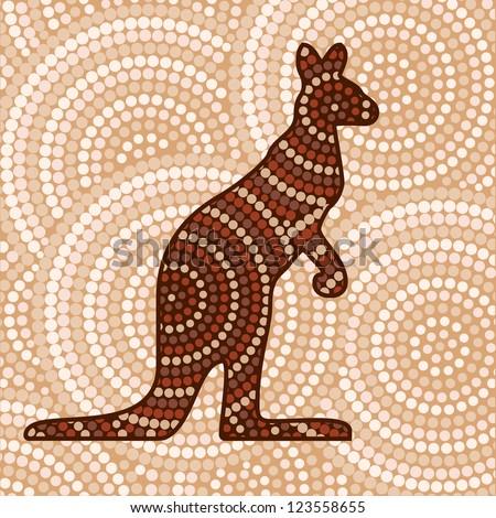 Abstract Aboriginal Kangaroo dot painting in vector format.