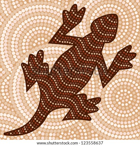 Abstract Aboriginal lizard dot painting in vector format.