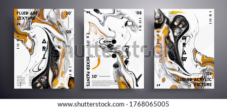 Abstract acrylic banner, fluid art vector texture set. Trendy background that applicable for design cover, poster, brochure and etc. Trendy colors of 2021 year - gray and yellow.