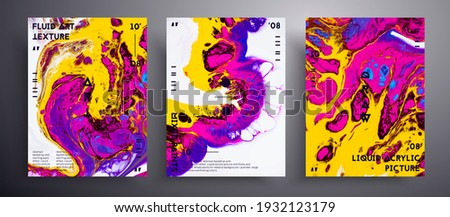 Abstract acrylic banner, fluid art vector texture set. Trendy background that can be used for design cover, poster, brochure and etc. Yellow, pink, blue and white unusual creative surface template.