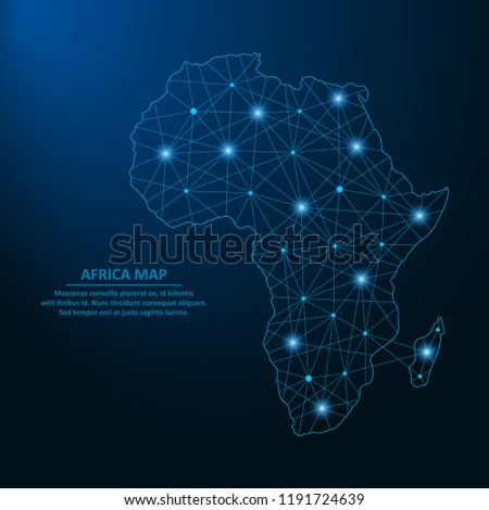 Abstract Africa map created from lines and bright points in the form of starry sky, polygonal wireframe mesh and connected lines. Low poly Africa continent. Vector illustration.