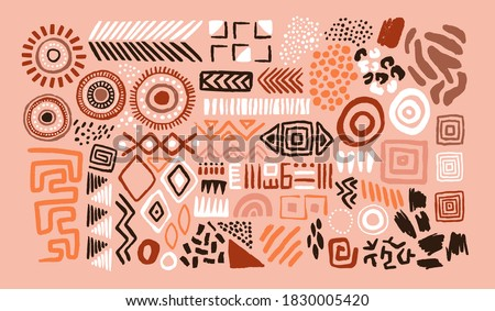 Abstract african art shapes collection, tribal doodle decoration set. Random ethnic shapes, animal print texture and traditional hand drawn icons. Сток-фото ©