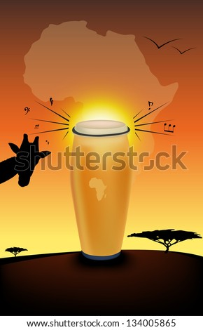abstract african drum and