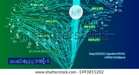 Abstract algorithms big data vector presentations. Deep research algorithm neural artificial intelligence.