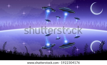 Abstract Aliens On Flying Saucers In Dark Background Gradient Unidentified Flying Object Ufo Stars Clouds Reflect Vector Design Style Stock photo ©