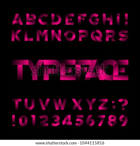 Abstract alphabet font. Type letters and numbers. Black background. Stock vector typeface for your design.