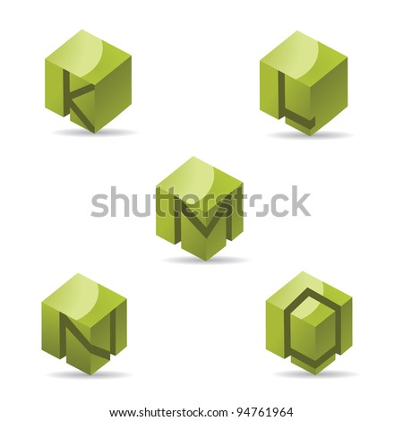 Abstract Alphabet Icon Symbol letters k L M N O EPS 8 vector, grouped for easy editing. No open shapes or paths.