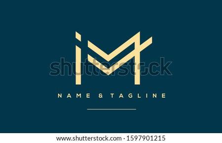 Abstract Alphabet Letter Symbol Icon  IM, MI, I and M Stok fotoğraf ©