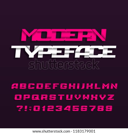 Abstract alphabet typeface. Modern style italic letters, numbers and symbols. Stock vector typeface.