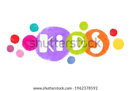 Abstract amazing watercolor paint vector kids logo design from colorful circles.Design template rainbow kids zone icon,children clothing store sign,toys shop symbol,kids club logotype, kindergarten