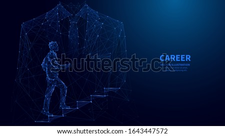 Abstract ambitions concept with businessman climbing stairs. Polygonal career concept with double exposition of businessman climbing stairs with business classic suit  silhouette. low poly wireframe.