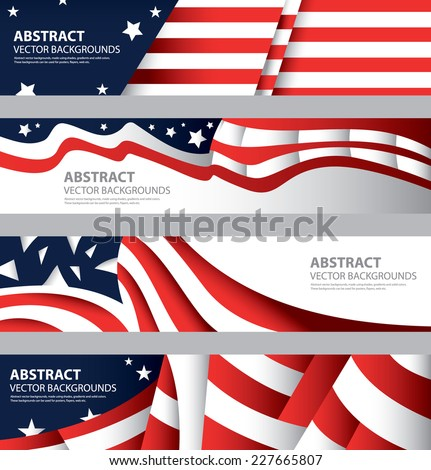 Abstract American Flag, USA Colors , Abstract Background, Colorful Template  (Vector Art)