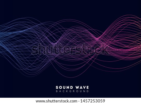 Abstract amplitude interference sound wave from equalizer. Music soundwave design electronic element. Background pattern technology line, horizontal radio wave. Vector illustration.