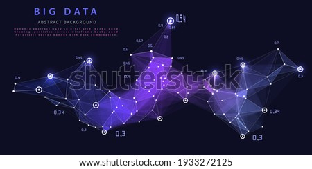 Abstract analytical background with polygonal grid analyze data on blue.  Analytics algorithms data. Big data. Quantum cryptography concept. Data chart.  Banner for business, science and technology.