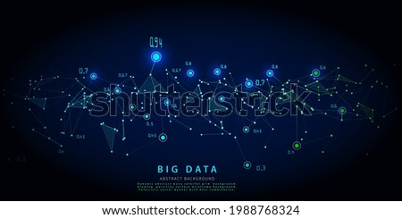 Abstract analytical background with polygonal grid analyze data on blue.  Analytics algorithms data. Big data. Quantum cryptography concept.  Data chart. Banner for business, science and te Stockfoto ©
