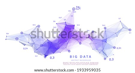 Abstract analytical background with polygonal grid analyze data on white.  Analytics algorithms data. Big data. Quantum cryptography concept. Data chart.  Banner for business, science and technology.