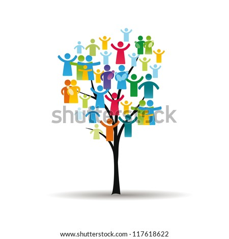 Abstract and colorful figures showing happy peoples and tree - stock vector