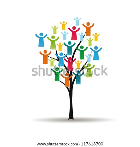 Abstract and colorful figures showing happy peoples on tree