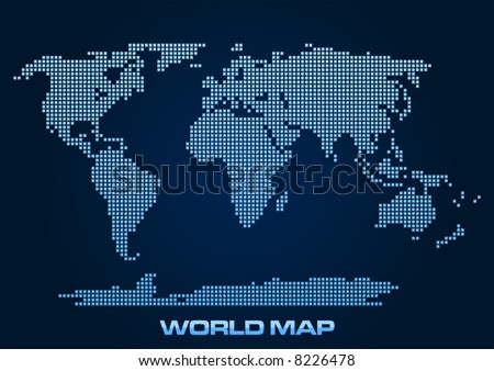 Free vector pixel world map download free vector art stock abstract and simplified world map formed by squares gumiabroncs Choice Image