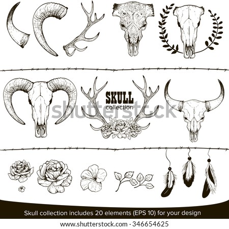 Abstract animal background line art. Set for your design