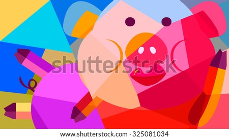 Abstract Animal Cartoon Drawing Colorful Painting Of A Lazy Pig With