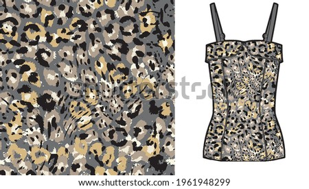 Abstract animal skin leopard seamless pattern design on women's top mockup. Jaguar, leopard, cheetah, panther fur. Seamless camouflage background for fabric, textile, design, cover, wrapping.