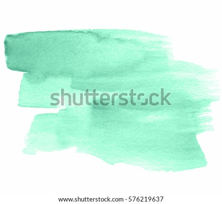 Abstract aquarelle brush paint paper texture nature color element for text design, blank, wallpaper. Green watercolor hand drawn vector isolated vivid stain on white background