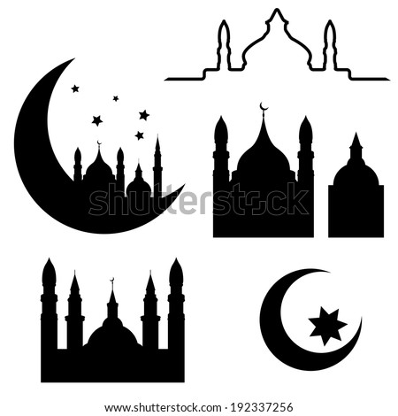 Abstract arabic elements isolated on white background, vector illustration