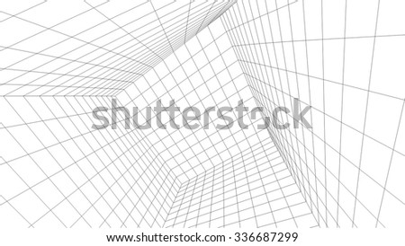 Abstract architectural background. Futuristic architecture #336687299