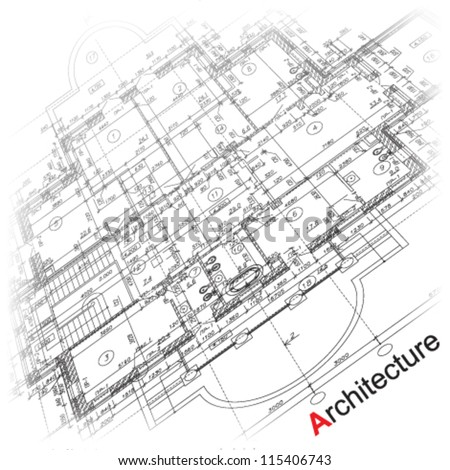 Abstract architectural background. Part of architectural project, architectural plan, technical project, drawing technical letters, architecture planning on paper, construction plan