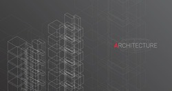 Abstract Architectural Drawing Of Modern Buildings Over Dark Gray Background. City Architecture Concept. Vector, Panorama