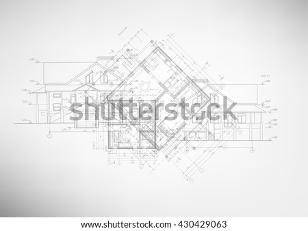 Abstract architectural drawings on light background. Vector illustration