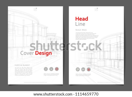 Abstract architecture background, layout brochure template, abstract architecture composition.  Geometric design.