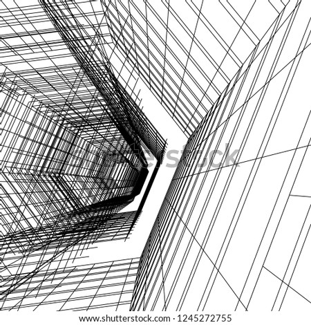 abstract architecture building 3d #1245272755