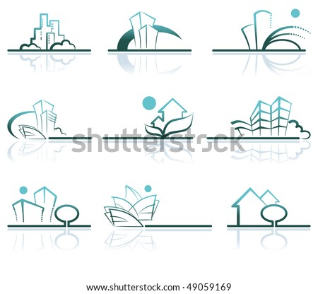 Abstract architecture icon set