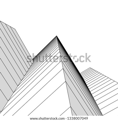 abstract architecture, vector background #1338007049