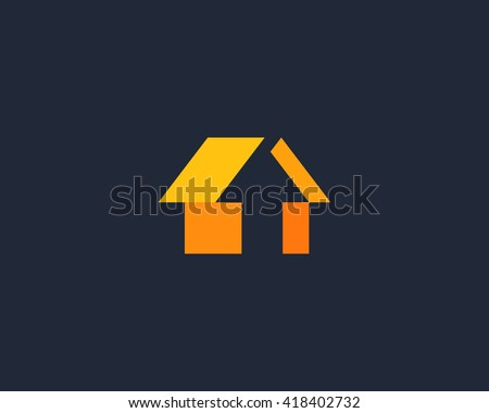 Abstract arrow house logo design template. Universal color click home vector icon