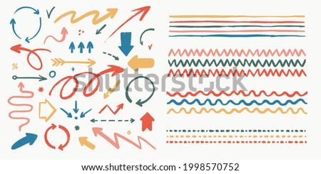 Abstract arrows and brushes set. Various doodle arrows and art strokes with grunge texture. Hand-drawn abstract vintage infographic Vector collection. Add in the brush panel as art or pattern brush. Photo stock ©