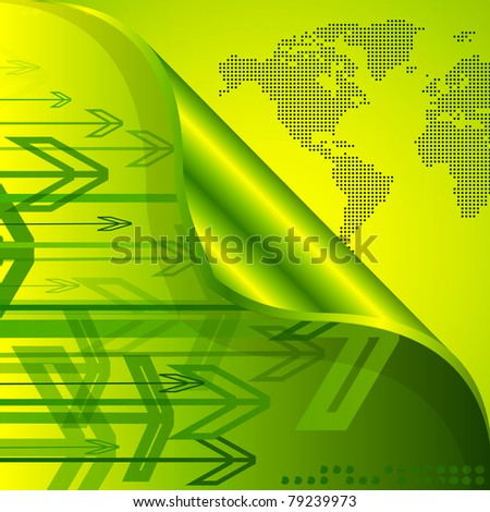 Abstract arrows and world map Background