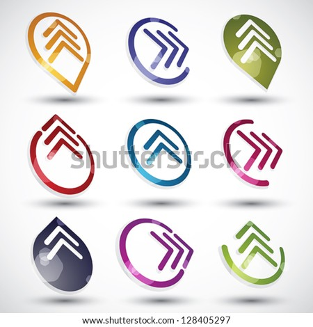 Abstract arrows icons set, round symbols vector collection.