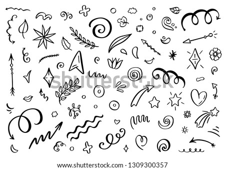 Abstract arrows, ribbons and other elements in hand drawn style for concept design. Doodle illustration. Vector template for decoration