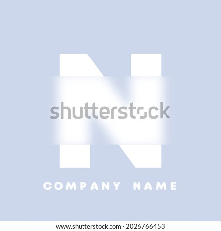 Abstract art alphabet letter N logo. Glassmorphism . Blurry style font, typography design, alphabet letters and numbers. Defocus font design, focused and defocused style alphabet. Vector illustration Foto stock ©