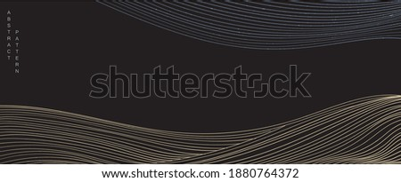 Abstract art background in oriental style. Natural landscape banner. Geometric line with Japanese pattern vector in oriental template. Mountain layout design.