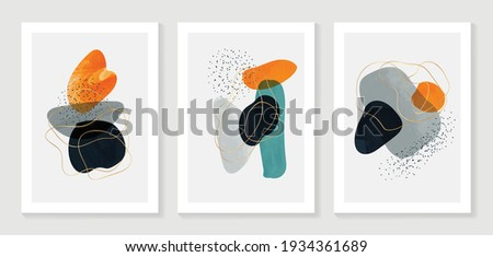 Abstract art background vector. Modern Gold shape line art wallpaper.  Minimalist hand painted illustrations with watercolor stain texture for home deco, wall art, Social media story background.